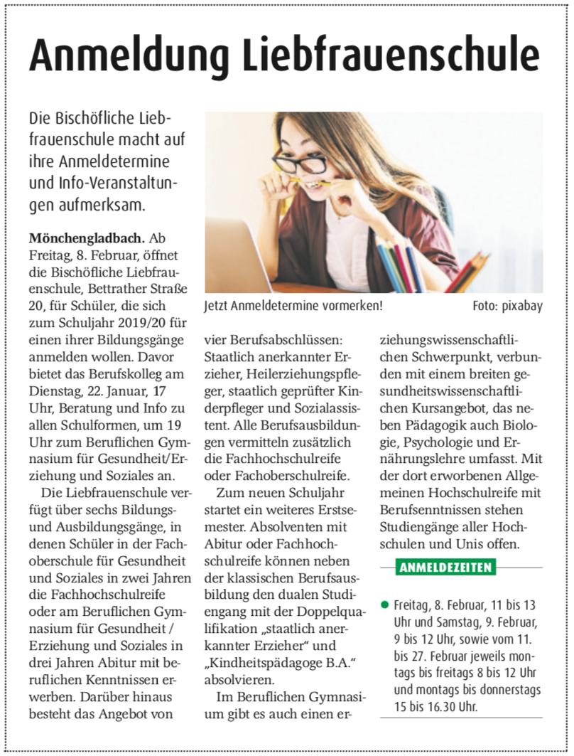 Presse - Bischöfliche Liebfrauenschule